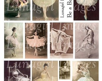 DANCE Be a BALLERINA digital collage sheet DOWNLOAD vintage photos dancers Victorian women girls dancing elegant printable shabby ephemera