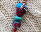 hearts and flowers red and turquoise lampwork on copper wire bail