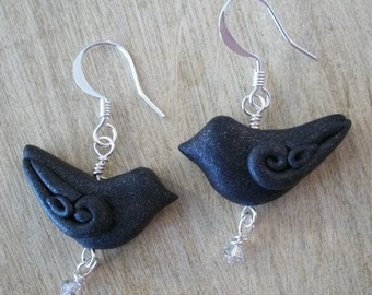 Black bird earrings Raven Crow art jewelry gothic