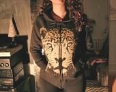womens black hoodie, plus hoodie, zip hoodies, leopard hoodie, cheetah print, Golden Cheetah, hoodie black gold, leopard sweatshirt, S-XXXL