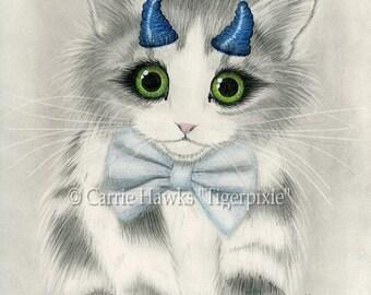 Cute Devil Kitten Little Blue Horns Big Eye Cat Art Gothic Fantasy Cat ACEO / ATC Mini Art Print Cat Lover Gift