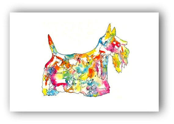 Scottish Terrier Watercolor Illustration Scottie Dog Silhouette Art Print Wall Art Poster Wall Decor Home decor
