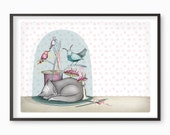 Cat birds Print - cats  - illustration bell jar - A4 / A3 / A5 / 8 x 10  Fine Art Giclee Print kawaii cute sewing Belljar kitten