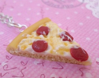 Kawaii Pepperoni Pizza Necklace, Polymer Clay Food Jewelry