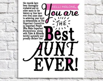 Aunt Gift Best Aunt Ever Print Personalized Aunt Gift From Nieces & Nephews Aunt Birthday Present Aunt Sign Aunt Quote Art Aunt Sayings