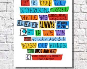 Bathroom Wall Decor Kids Bathroom Rules Boys Bathroom Wall Art Colorful Children's Bathroom Art Print Girls Bathroom Quote Reminder Sign