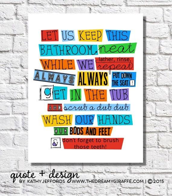 Bathroom Wall Decor Kids Bathroom Rules Boys Bathroom Wall Art