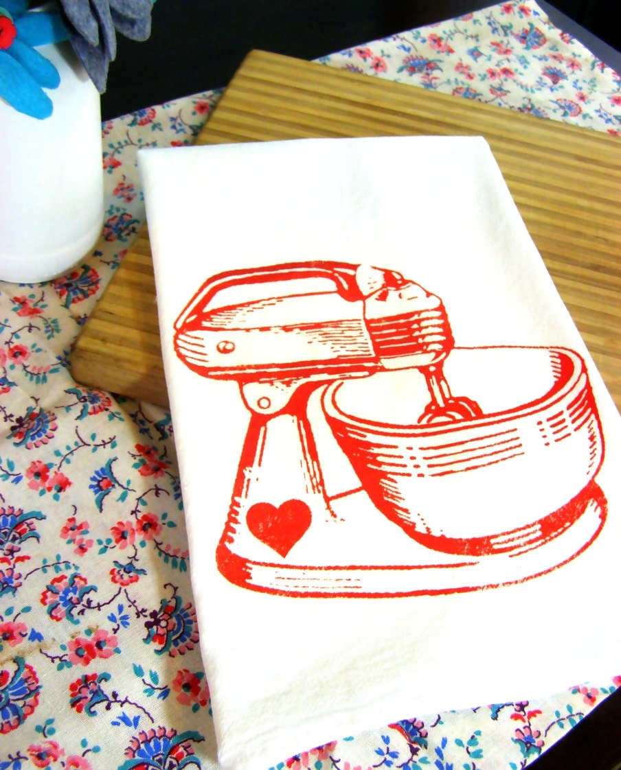 Vintage Mixer Kitchen Towel Red Baking Tea Towels CUTE Kitchen