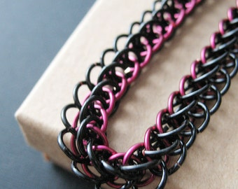 Chainmaille Bracelet Marsala Red and Black Half Persian Chain Link Jewelry For Women