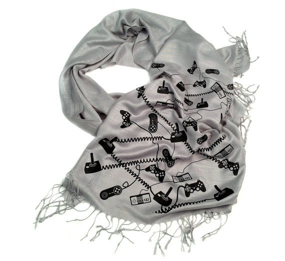 Video Game scarf. Gaming controller linen weave pashmina. Gamer gift, video game lover. For him or her. More colors available!
