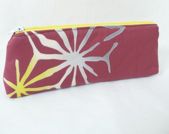Marsala Yukata Cloth Zippered Pouch, Pencil Case with Bursts of Grey and Yellow