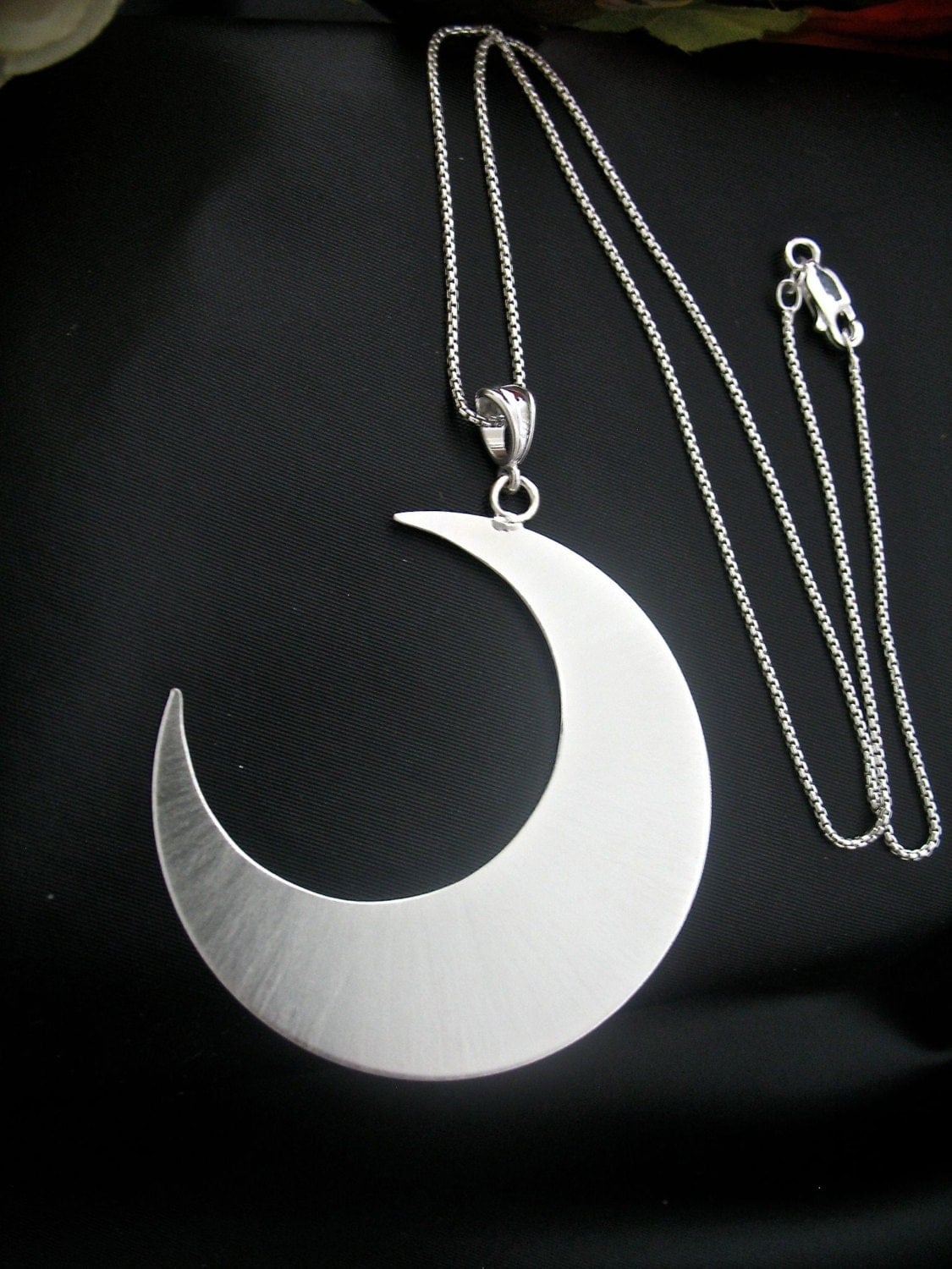 large 2 inch crescent moon statement necklace 16 inch box