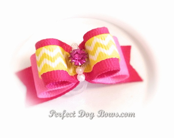 Pink Dog Bow, Chevron Pet Hair Bow with Pink Vintage Rhinestone, Small Pet Bow