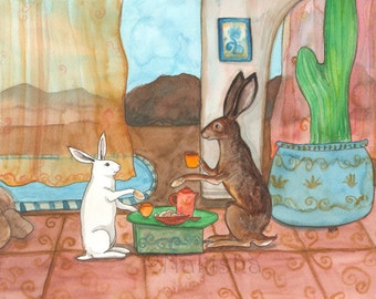 RESERVED for LS - Original Art - Tea with Jack Rabbit - Watercolor Rabbit Painting
