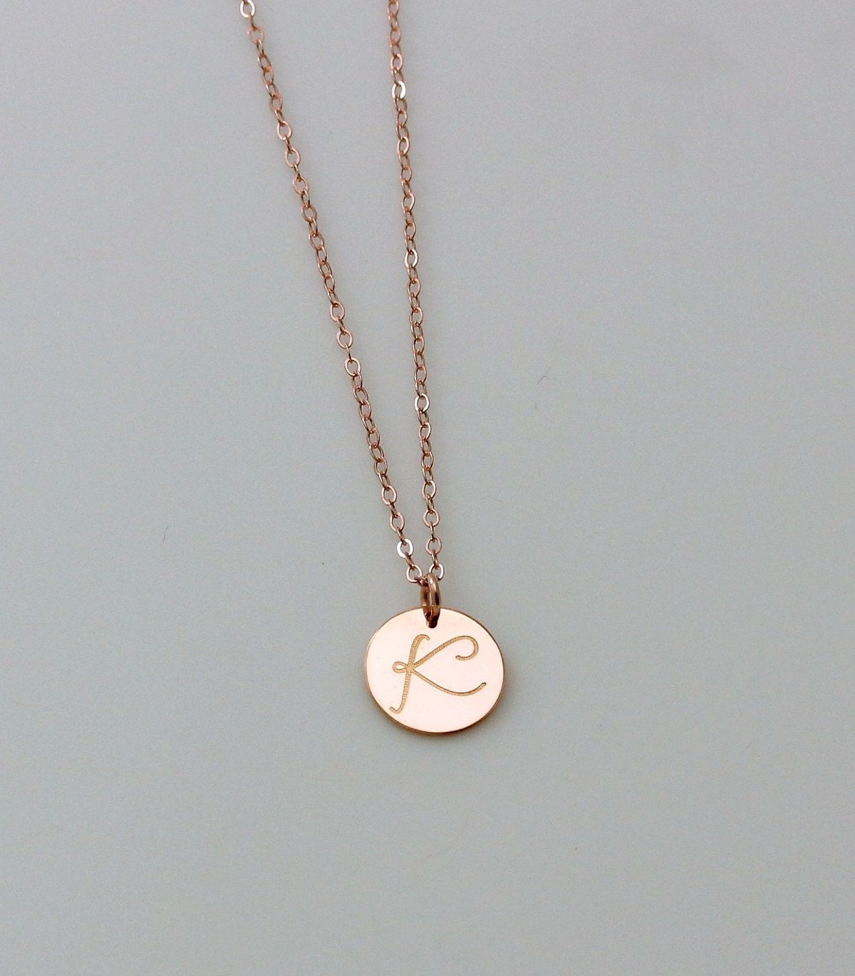 Personalized circle necklace rose gold initial necklace for Rose gold personalized jewelry