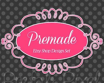 Chic Etsy Cover Photo Set, Boutique Etsy Banner, Pink Shop Banner Set, Flourish Etsy Banner, Polka Dot Banner, Swirl Etsy Banner