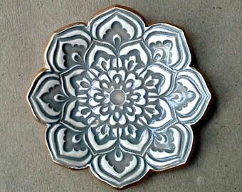 Taupe Gray Lotus Ceramic Ring Dish  with gold edging