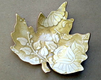 Ceramic Leaf Soap Dish Spoon Rest Anything Dish  Mustard Yellow