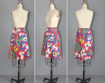 1970s skirt / knee skirt / cotton / TROPICAL STORM vintage skirt