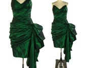 Victor Costa Dress / Emerald Green Taffeta Cocktail Dress / Strapless Boned Bodice with Asymmetrical Bustle & Train / Vintage 1980s