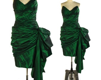 Victor Costa Dress / Emerald Green Taffeta Cocktail Dress / Strapless Boned Bodice with Asymmetrical Bustle & Train / Vintage 1980s