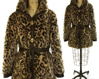 Leopard Faux Fur Coat / Vintage 1960s Animal Print Coat