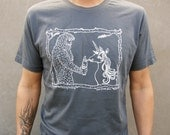 Sasquatch & Unicorn Men's Graphic Tee Shirt, Hand Screen Printed Cotton,  Gift for Men, BigFoot Tee Shirt, As seen on Last Man on Earth
