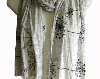 Dandelion Seed Pod Scarf, Hand Printed, Light Weight Soft Heather Rayon Knit Burnout, Off White with Charcoal Gray, Gift for Women