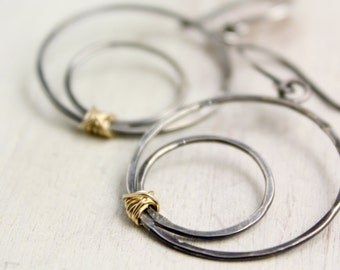 Black and Gold Off-Center Silver Hoops