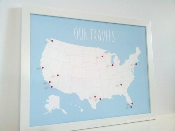 Wedding Gifts Usa: USA Travel Push Pin Map DIY Modern Interactive Traveler Map