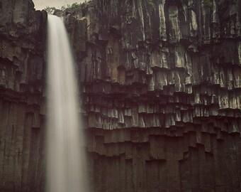 """Waterfall Photo, Landscape Photography, Svartifoss Waterfall, Iceland Nature Photography, Waterfall Art, 8x8 - """"Black Fall"""""""