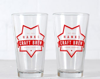 "CUSTOMIZED PINT GLASSES - ""Craft Brew"" design screen printed 16oz. beer tumbler"
