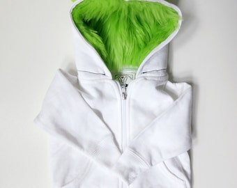 Toddler Monster Hoodie - Size 4T - White with Lime green - horned sweatshirt, custom jacket, real simple, magazine holiday gift guide