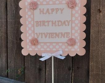 Polka Dot Happy Birthday Sign Centerpiece- Girl 1st Birthday