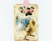 Easter Chick Gift Tags , Vintage Easter Tags , Easter Eggs , Forget Me Nots , Shabby Easter , Spring Tags , Yellow and Blue ,