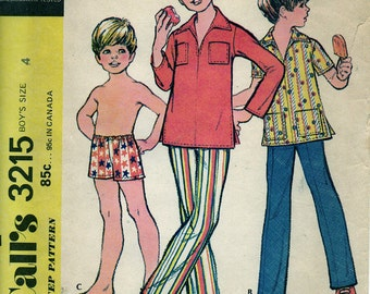 1972 Uncut Boys PANTS SHIRT Swim Trunks Pattern McCalls #3215 Size 4 Retro Spring Summer Vintage Sewing Easy
