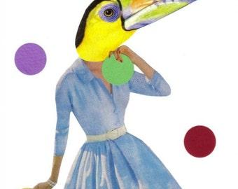 Tropical Art Toucan Wall Art, Original Collage Bright Art Colorful Bird Artwork, Jungle Rain Forest, Exotic Bird Decor Bright Color Wall Art