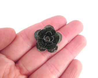 10 gunmetal 24mm rose bead cabochons