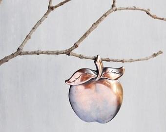 SALE! Vintage Apple Pendant - big solid oxidized copper metal fruit - fall Autumn teacher gift