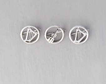 3 Vintage Sterling Silver Musical Instrument Pins -  small harp and violin round circle brooches