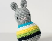 roly poly rabbit bondi .. baby rattle, toddler rattle, rabbit toy bunny amigurumi crochet