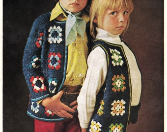A Childs Crochet Granny square Jacket and Waistcoat - Vintage pattern PDF copy
