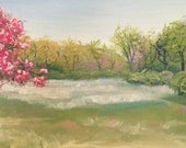 Original Oil Painting Plein Air Landscape, Jefferson Barracks Panorama, impressionist colorful floral art, spring