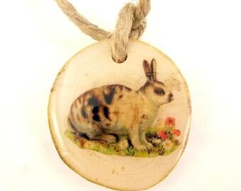 "1 Rustic or Primitive Vintage Rabbit Wooden Natural Birch  Branch Ornament, Tag or Decoration. 1 3/4"" or 4.5 cm."