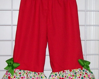 Red with Michael Miller Santa Play Dot Ruffles Pants with Lime Green Bows - Christmas