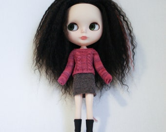 Blythe doll Edith Sweater knitting PATTERN - cables short or long sleeve for Neo - instant download - permission to sell finished items