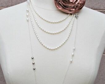 Long Layered Sterling Silver Delicate Freshwater Pearls Crystals Platinum Swarovski Pearls Bridal Wedding