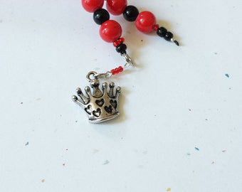 Beaded Bookmark Queen Of Hearts / Red And Black / Glass Beaded Cord With Metal Charm/ Handmade Fairy Tale Book Thong/ Journal Marker