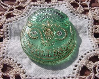 Jasmine Mint Golden Buddha Czech Glass Button