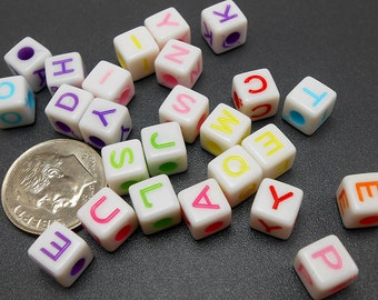 60 Mixed Color Acrylic Letter Beads 7mm alphabet initial (H1862)